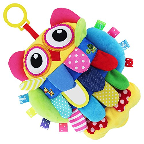 teytoy My First Soft Toy, Baby Early Development Toys Activity Crinkle Cloth Soft Rattle Plush Doll Toy for Boy Girl,Flip Owl