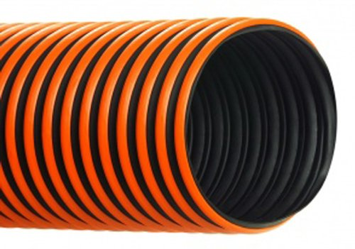 Hi-Tech Duravent RFH-W Series Thermoplastic Rubber Duct Hose with Wearstrip, Black, 2'' ID, 25' Length