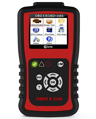Kzyee KC401 EOBD OBD2 Scanner, Enhanced Universal OBD II Car Code Reader/Eraser Supports 10 Modes and ABS, Car Diagnostic Scan Tool with TFT Color Screen for 12V Diesel and Gasoline Vehicles