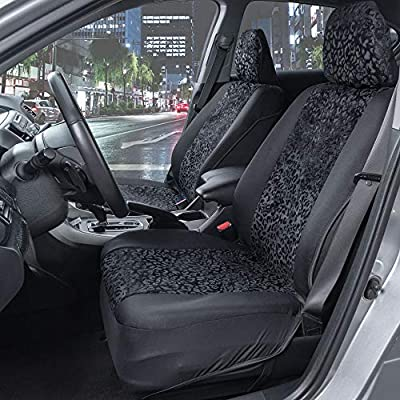 BDK Black Leopard Print Car Seat Covers, Front Seats Only – Animal Pattern Front Seat Cover Set with Matching Headrest, Sideless Design for Easy Installation, Universal Fit for Car Truck Van and SUV: Automotive
