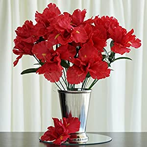 Tableclothsfactory 60 pcs Artificial IRIS Flowers - 12 Bushes - Red 81
