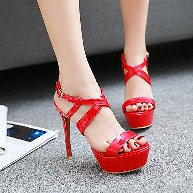LvYuan Tacón Stiletto-Zapatos del club-Sandalias-Fiesta y Noche Vestido Informal-Cuero Patentado-Negro Rojo Blanco Red