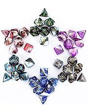 FLASHOWL Polyhedrale dobbelstenen set Tafelspellen Dobbelstenen 6 sets Dobbelstenen 6 x 7 Die Series D20, D12, D10, D8, D6, D4 DND dobbelstenen DND RPG MTG dubbele kleuren Een stuk, 6 sets met 6 kleuren (42 stuks)