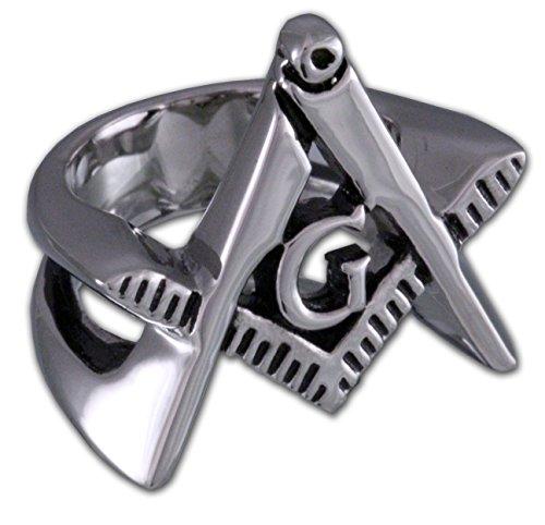Masonic Cut Out Triangle Symbol - Stainless Steel Freemason Ring / Masonic Rings - Freemason's Jewelry for Free Masonry Member. Free Masons Masonary Ring (9) (Ring Out Symbol Cut)