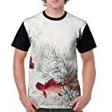Address Verb Men's Raglan T-Shirt Golden Fishes Casual Short Sleeves Tees Top
