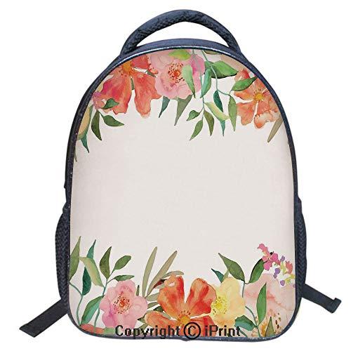 Print Laptop Backpack Book Bag School Bags Travel Day Pack,Girl's School Polyester Fiber Book Bag,16 inch,Flower Petals Soft Pastel Toned Bouquet Blooms Shabby Chic Elegance Feminine Motif ()