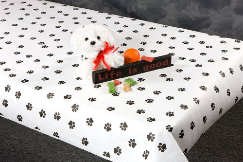 .com: 100 foot paw print paper table cover: toys & games