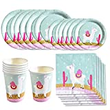 Amycute 68 PCS Alpaca Disposable Tableware Set, Llama Plates, Cups, Napkins, Baby Showers Birthday Party Favors Decorations