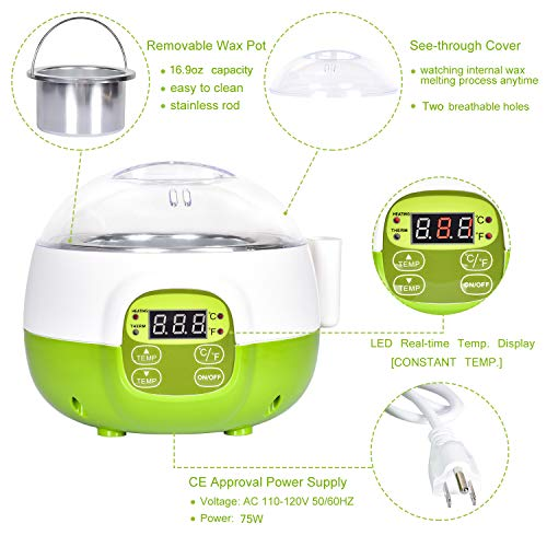 DeveSouth 17oz Green Wax Warmer Machine Hair Removal Kit Digital Display Waxing Bean Device (SD-351)