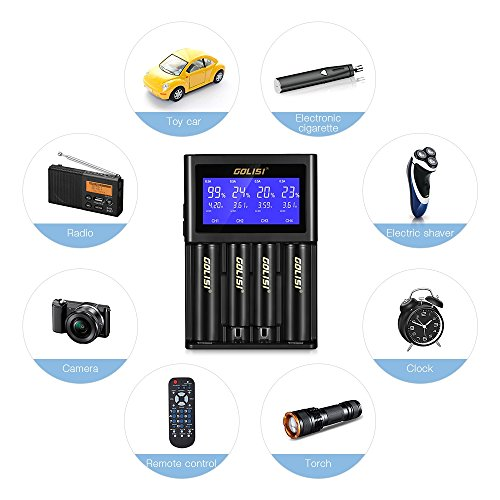 LCD Display Universal Battery Charger, INLIFE Speedy Smart Battery Charger for Rechargeable Batteries Ni-MH Ni-Cd A AA AAA AAAA C SC, Li-ion 18650 26650 26500 20700 22650 18490 17670 17500 (4-Bay)