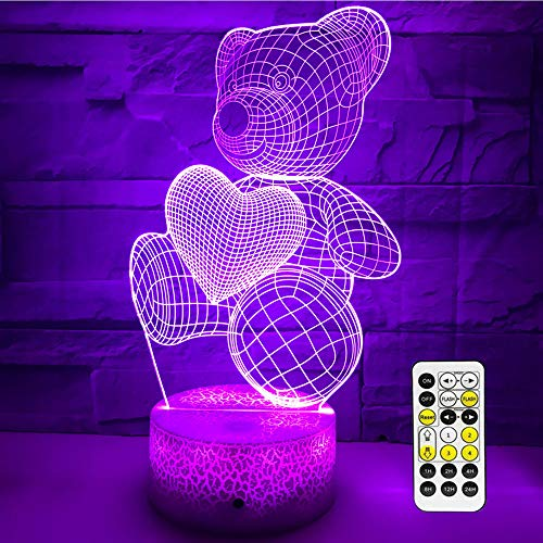 eTongtop Night Lights for Kids 3D Bear Night Lamps 7 Colors Changeable with Time Remote Birthday Gifts for Girls Boys (Cute Bear) ()