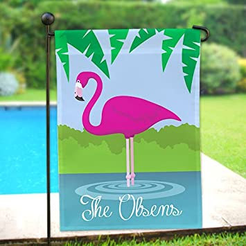 Amazoncom Personalized Pink Flamingo Double Sided Garden Flag