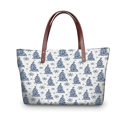 iPrint Design the fashion for you Waterproof Women Casual Handbag Tote Bags,Winter,Abstract Blue Trees Artistic Silhouettes Snowflakes Seasonal Nature Ornaments,Dark Blue ()