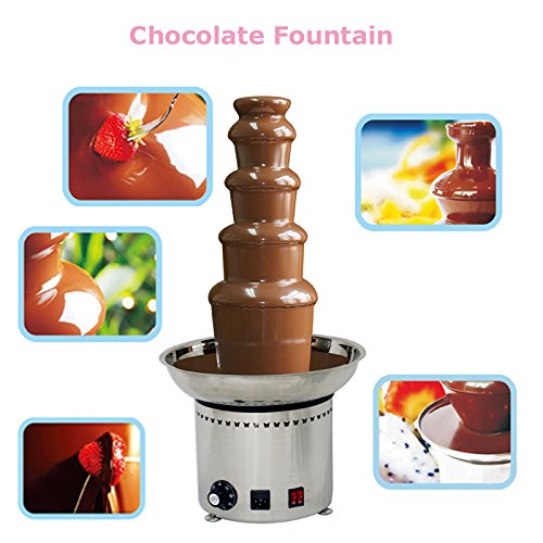 Techtongda 5 Tiers Stainless Steel Chocolate Fondue Waterfall Fountain Commercial Home Party 110V by Techtongda Chocolate Fountain (Image #7)