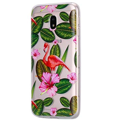 EUWLY Carcasa para Samsung Galaxy J5 2017/J530(Versión Europea), Funda Samsung Galaxy J5 2017 Silicona Transparente, Ultra Delgado Ligera Suave Carcasa Case Alta Calidad Claro Como el Cristal Silicona Flamenco