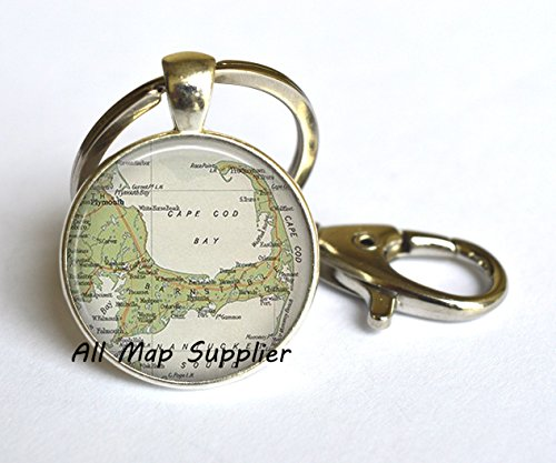 (Charming Keychain Cape Cod map Key Ring, Cape Cod Key Ring, resin Key Ring, Cape Cod Keychain map jewelry,A0030)
