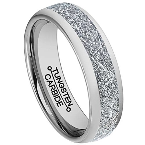 Men 6mm Silver Tungsten Carbide Ring Vintage Meteorites Pattern Wedding Engagement Band Domed Comfort Fit Size (Artcarved Wedding Bands Round Ring)