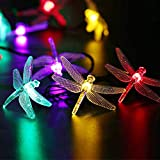 LUCKLED Dragonfly Solar String Lights, 16ft 20LED Christmas Fairy Garden Lights for Outdoor, Home, Lawn, Patio, Party and Holiday Decorations (Multi-Color)