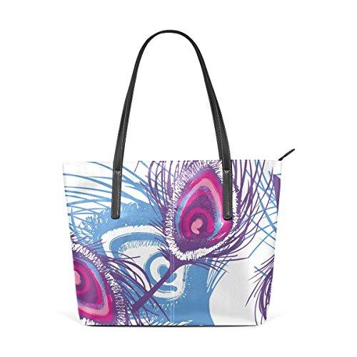 Per Tracolla Piuma In Di Le Della Pavone Pelle Donne Modello Bag Coosun Significa Muticolour Borsa Tote A Borse f8gXxO