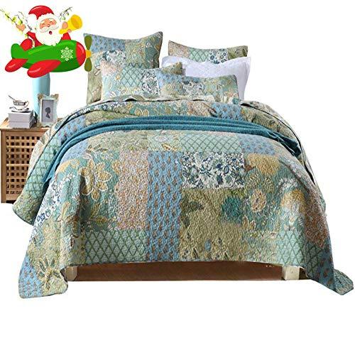Cotton Floral Quilt Bedspread Set King Flower Print Reversible Coverlet Set Ultra Soft Autumn Winter Quilt Set 3 Piece Luxury King Size Patchwork Bedspread Set with 2 Pillow Shams
