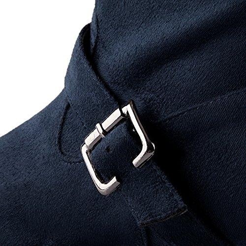 AgooLar Damen Hoch-Spitze Reißverschluss Mattglasbirne Niedriger Absatz Rund Zehe Stiefel Blau