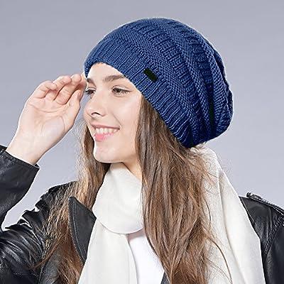 Knit Slouchy Beanie Winter Hat - Women's Merino Wool Cable Ski Cap FURTALK Original