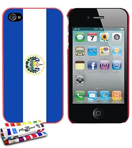Ultraflache weiche Schutzhülle APPLE IPHONE 4 / IPHONE 4S [Flagge El Salvador] [Rot] von MUZZANO + STIFT und MICROFASERTUCH MUZZANO® GRATIS - Das ULTIMATIVE, ELEGANTE UND LANGLEBIGE Schutz-Case für Ih