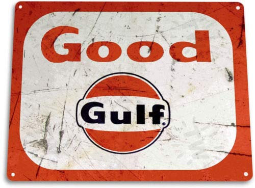 TIN Sign Good Gulf Gas Oil Auto Shop Garage Gas Oil -