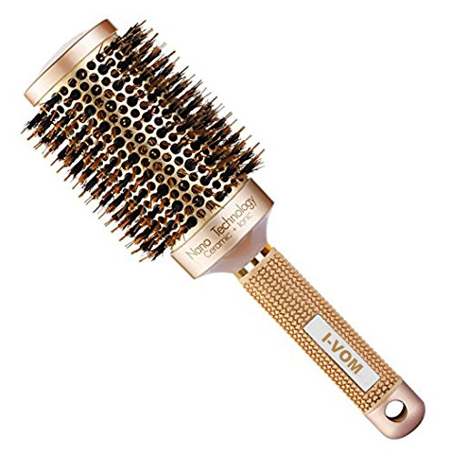 I-VOM Nano Thermal Ceramic & Ionic Round Barrel Hair Brush with Boar Bristle , for Hair Drying, Styling, Curling, Hair Volume Adding, Shiny and Anti Frizz (2 inch) (Gold)
