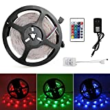 OYISIYI Light Strip 16.4 FT 300 LEDs 3528 SMD RGB flexible LED strip multicolor changes backlight kit with 24 key IR Controller with 2A Power Adapter