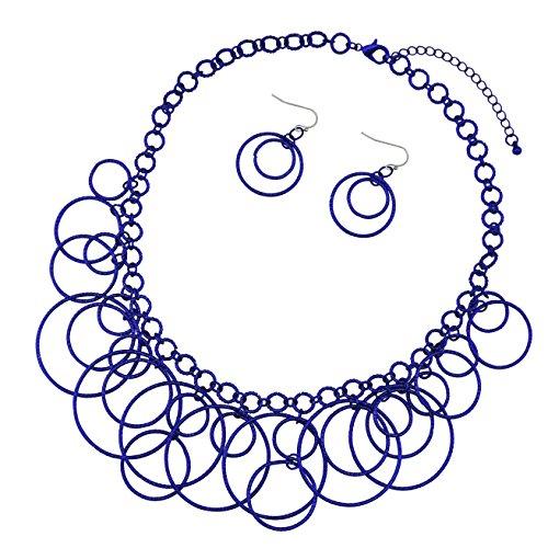 Bocar Handmade Chain Hoops Statement Simple Short Necklace Earring Set for Women