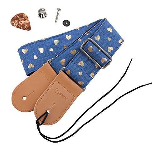 HOT SEAL Cute Printed Adjustable Genuine Leather Metal Hook Guitar Strap Bass Universal Strong Back Straps (Heart-shaped blue) ()
