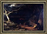 Frederic Edwin Church Christian on the Borders of the ''Valley of the Shadow of Death '' Pilgrim's Progress - 16.1'' x 24.1'' Framed Premium Canvas Print