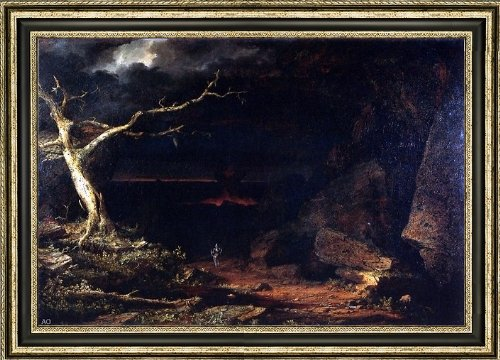 Frederic Edwin Church Christian on the Borders of the ''Valley of the Shadow of Death '' Pilgrim's Progress - 16.1'' x 24.1'' Framed Premium Canvas Print by Art Oyster