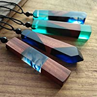 ERAWAN Fashion Resin Wood Colorful Pendant Handmade Chain Necklace Rope Jewelry Unisex EW sakcharn
