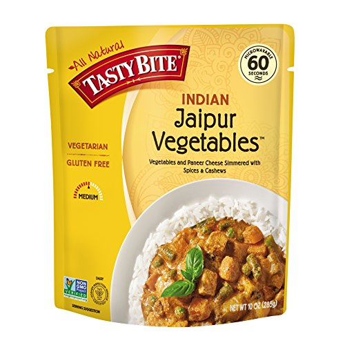 - Tasty Bite Indian Entree Jaipur Vegetables 10 Ounce (Pack of 6), Fully Cooked Indian Entrée with Vegetables and Paneer Cheese Simmered with Spices and Cashews, Vegetarian, Gluten Free, Ready to Eat