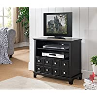 Kings Brand Furniture Wood Storage TV Stand with Doors & Shelves, Black