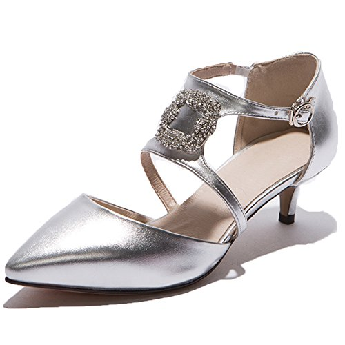 SaraIris Kitten Shoes Pumps Dress Wedding Rhinestone Count Heel Party Women's silvery Pointed ppXOTr