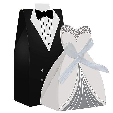 Color Cebra Vestido de Boda y Tuxedo Novia Candy Favor Box ...