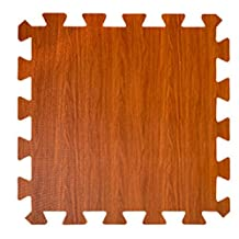 E.life 4-Tile EVA Puzzle Exercise Interlocking Wood Pattern Foam Mats - Wood Grain Gym Floor Interlocking Rugs Toddler Kids Playmats Safety for Home Office Outdoors (Dark Grain-02)