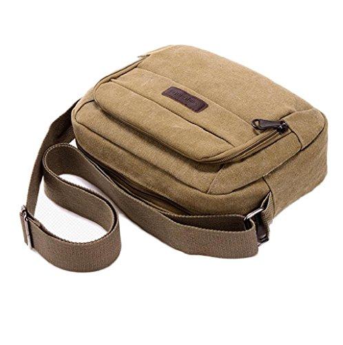 mochilas hombre Sannysis Bolsos de lona con Cremallera (Verde) Caqui