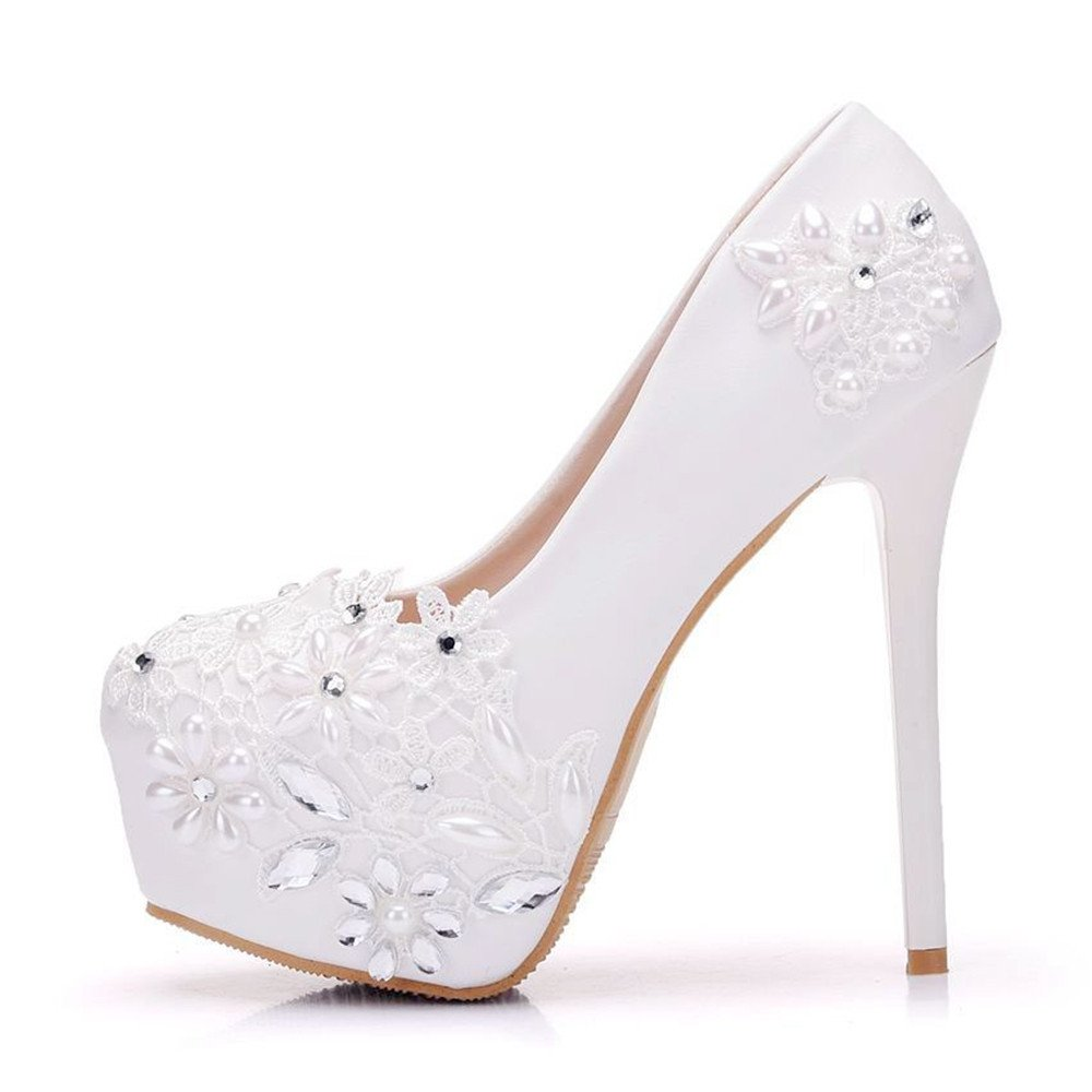 Gusha White Lace Wedding Shoes High Heels Women's Round Toe High Heels Wedding Party