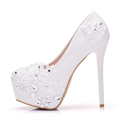 9ff371cb81 Amazon.com | FORTUN Round Head Closed-Toe Wedding Women's Pearls  Rhinestones Platform Stilettos | Heeled Sandals