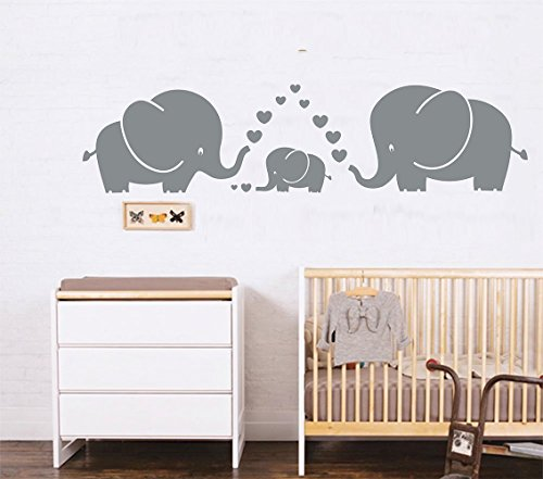 LUCKKYY Cute Three family Elephant Wall Decals for kid Room Room Decor Baby Nursery (Gray) from LUCKKYY