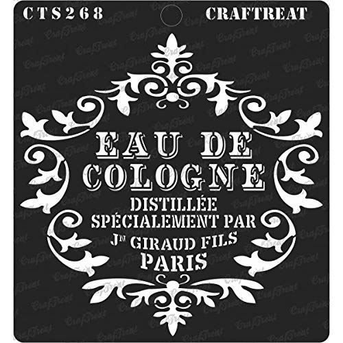 CrafTreat Stencil - Eau De Cologne | Reusable Painting Template for Journal, Notebook, Home Decor, Crafting, DIY Albums, Scrapbook and Printing on Paper, Floor, Wall, Tile, Fabric, Wood -