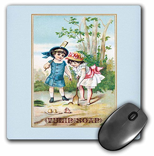 (3dRose BLN Vintage Trade Cards Featuring Children Advertising Art - Vintage Tulip Soap Trading Card with Two Girls in Victorian Era Dresses - MousePad (mp_156865_1) )