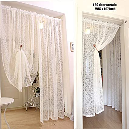 KMSG 1 Panel Dining Room Rod Pocket White Lace Sheer Curtains Valance 24 Inch Long Wave Bottom Kitchen Voile Curtain Cafe Door Curtain Short Curtain Tier Window Treatment Drapes Tulle Room Divider
