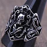 316L Stainless Steel Men Punk Vintage Skull Biker Ring Jewelry (9.5)