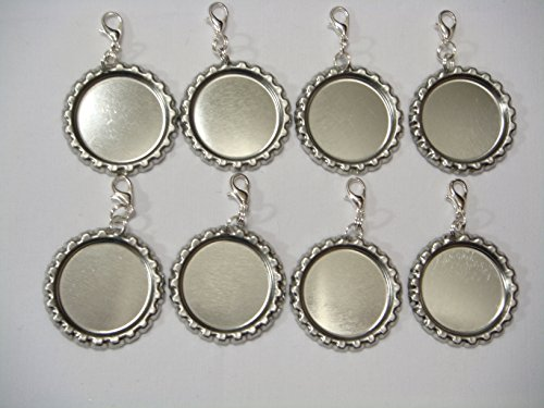 50 Flattened Silver Bottle Caps With Zipper Pulls