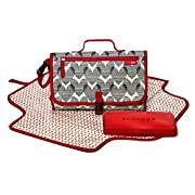 Skip Hop Baby Pronto Portable Changing Station with Cushioned Changing Mat and Wipes Case, 3 Pockets, Multi Hearts